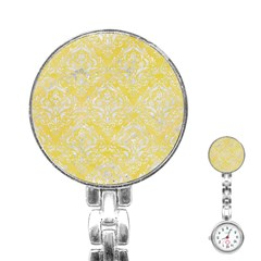 Damask1 White Marble & Yellow Watercolor Stainless Steel Nurses Watch by trendistuff