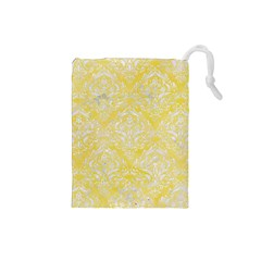 Damask1 White Marble & Yellow Watercolor Drawstring Pouches (small)  by trendistuff