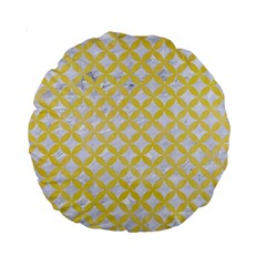 Circles3 White Marble & Yellow Watercolor (r) Standard 15  Premium Round Cushions by trendistuff