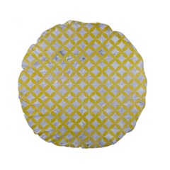 Circles3 White Marble & Yellow Watercolor (r) Standard 15  Premium Flano Round Cushions by trendistuff