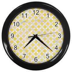 Circles3 White Marble & Yellow Watercolor Wall Clocks (black) by trendistuff