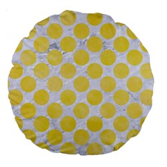 Circles2 White Marble & Yellow Watercolor (r) Large 18  Premium Round Cushions by trendistuff