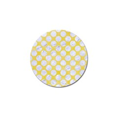 Circles2 White Marble & Yellow Watercolor Golf Ball Marker by trendistuff