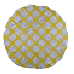 Circles2 White Marble & Yellow Watercolor Large 18  Premium Round Cushions by trendistuff