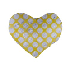 Circles2 White Marble & Yellow Watercolor Standard 16  Premium Heart Shape Cushions by trendistuff