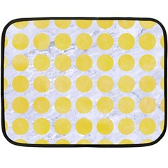 Circles1 White Marble & Yellow Watercolor (r) Double Sided Fleece Blanket (mini)  by trendistuff