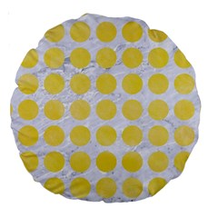 Circles1 White Marble & Yellow Watercolor (r) Large 18  Premium Round Cushions by trendistuff