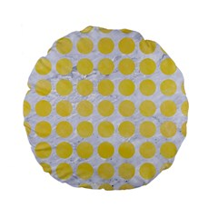 Circles1 White Marble & Yellow Watercolor (r) Standard 15  Premium Flano Round Cushions by trendistuff