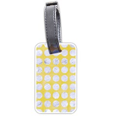 Circles1 White Marble & Yellow Watercolor Luggage Tags (two Sides) by trendistuff