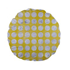 Circles1 White Marble & Yellow Watercolor Standard 15  Premium Flano Round Cushions by trendistuff