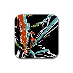 Multicolor Abstract Design Rubber Coaster (square)  by dflcprints