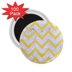 Chevron9 White Marble & Yellow Watercolor (r) 2 25  Magnets (100 Pack)  by trendistuff