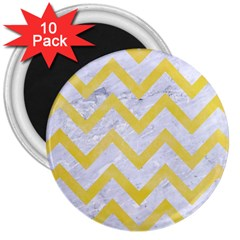 Chevron9 White Marble & Yellow Watercolor (r) 3  Magnets (10 Pack)  by trendistuff