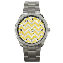 Chevron9 White Marble & Yellow Watercolor Sport Metal Watch by trendistuff