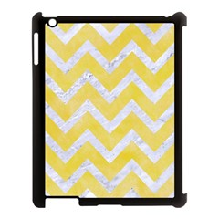 Chevron9 White Marble & Yellow Watercolor Apple Ipad 3/4 Case (black) by trendistuff