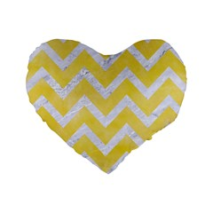 Chevron9 White Marble & Yellow Watercolor Standard 16  Premium Heart Shape Cushions by trendistuff