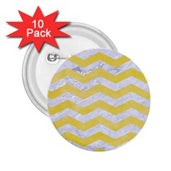 Chevron3 White Marble & Yellow Watercolor 2 25  Buttons (10 Pack)  by trendistuff