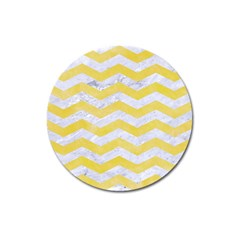 Chevron3 White Marble & Yellow Watercolor Magnet 3  (round) by trendistuff