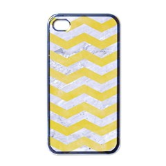 Chevron3 White Marble & Yellow Watercolor Apple Iphone 4 Case (black) by trendistuff