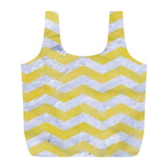 Chevron3 White Marble & Yellow Watercolor Full Print Recycle Bags (l)  by trendistuff