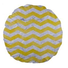 Chevron3 White Marble & Yellow Watercolor Large 18  Premium Flano Round Cushions by trendistuff