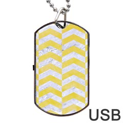 Chevron2 White Marble & Yellow Watercolor Dog Tag Usb Flash (two Sides) by trendistuff