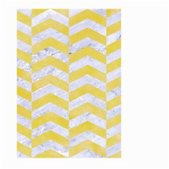 Chevron2 White Marble & Yellow Watercolor Large Garden Flag (two Sides) by trendistuff
