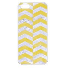 Chevron2 White Marble & Yellow Watercolor Apple Iphone 5 Seamless Case (white) by trendistuff