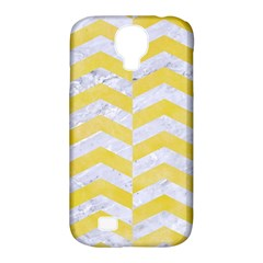 Chevron2 White Marble & Yellow Watercolor Samsung Galaxy S4 Classic Hardshell Case (pc+silicone) by trendistuff
