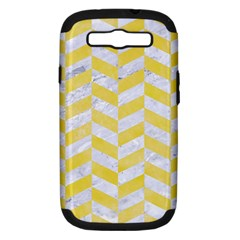 Chevron1 White Marble & Yellow Watercolor Samsung Galaxy S Iii Hardshell Case (pc+silicone) by trendistuff