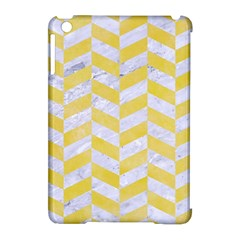 Chevron1 White Marble & Yellow Watercolor Apple Ipad Mini Hardshell Case (compatible With Smart Cover) by trendistuff