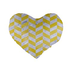 Chevron1 White Marble & Yellow Watercolor Standard 16  Premium Heart Shape Cushions by trendistuff