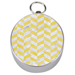 Chevron1 White Marble & Yellow Watercolor Silver Compasses by trendistuff