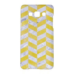 Chevron1 White Marble & Yellow Watercolor Samsung Galaxy A5 Hardshell Case  by trendistuff