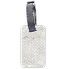Brick2 White Marble & Yellow Watercolor (r) Luggage Tags (two Sides) by trendistuff