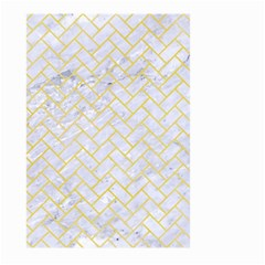 Brick2 White Marble & Yellow Watercolor (r) Large Garden Flag (two Sides) by trendistuff