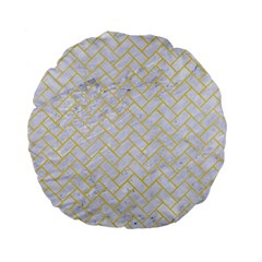 Brick2 White Marble & Yellow Watercolor (r) Standard 15  Premium Flano Round Cushions by trendistuff