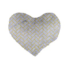 Brick2 White Marble & Yellow Watercolor (r) Standard 16  Premium Flano Heart Shape Cushions by trendistuff