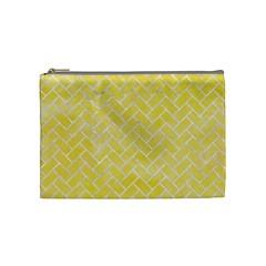 Brick2 White Marble & Yellow Watercolor Cosmetic Bag (medium)  by trendistuff