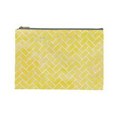 Brick2 White Marble & Yellow Watercolor Cosmetic Bag (large)  by trendistuff