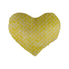 Brick2 White Marble & Yellow Watercolor Standard 16  Premium Heart Shape Cushions by trendistuff