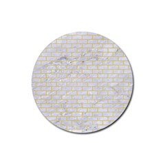 Brick1 White Marble & Yellow Watercolor (r) Rubber Round Coaster (4 Pack)  by trendistuff