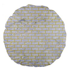 Brick1 White Marble & Yellow Watercolor (r) Large 18  Premium Round Cushions by trendistuff