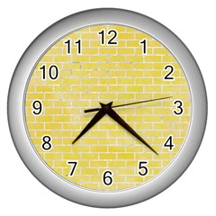 Brick1 White Marble & Yellow Watercolor Wall Clocks (silver)  by trendistuff