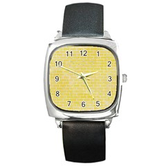 Brick1 White Marble & Yellow Watercolor Square Metal Watch by trendistuff