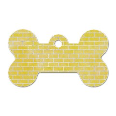 Brick1 White Marble & Yellow Watercolor Dog Tag Bone (two Sides) by trendistuff