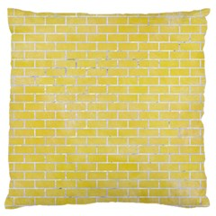 Brick1 White Marble & Yellow Watercolor Standard Flano Cushion Case (two Sides)