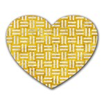 WOVEN1 WHITE MARBLE & YELLOW MARBLE Heart Mousepads Front