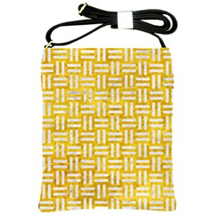 Woven1 White Marble & Yellow Marble Shoulder Sling Bags by trendistuff