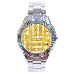 Woven1 White Marble & Yellow Marble Stainless Steel Analogue Watch by trendistuff
